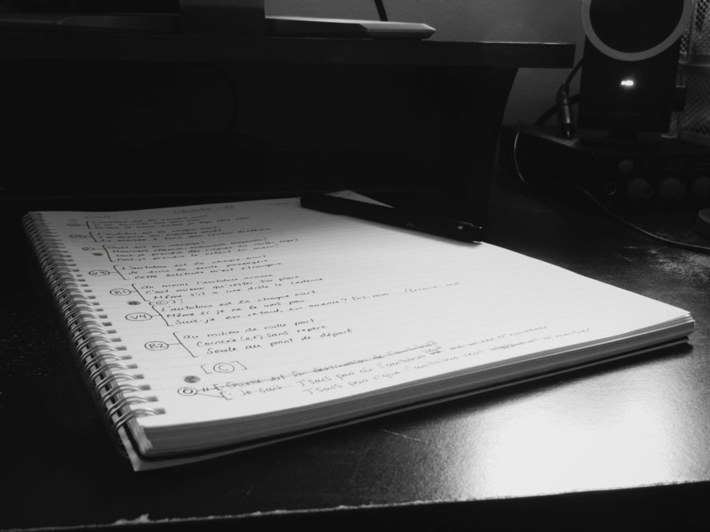 Cahier dans lequel j'écris et retravaille mes textes de chanson.