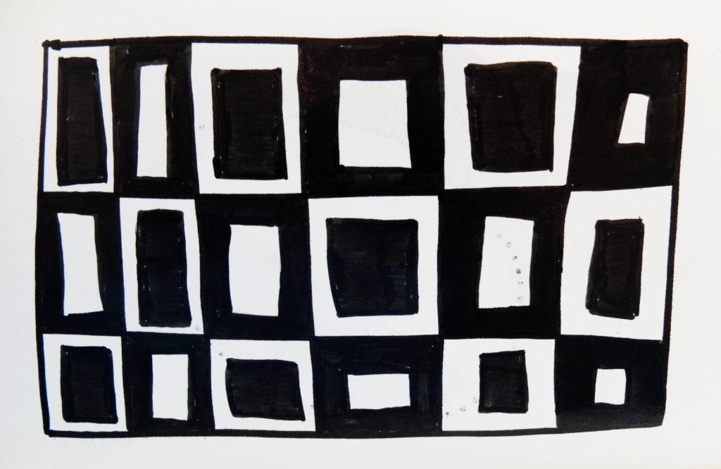 Doodle géométrique, noir et blanc.