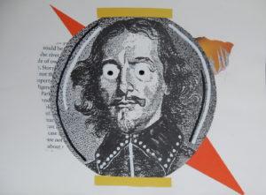 Collage avec détails en peinture acrylique.