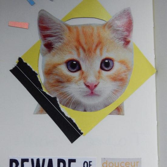 Collage. L'élément principal est un chaton roux. On peut lire « Beware of the douceur ».